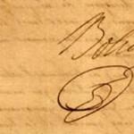 Firma de Bolivar en la Carta de Jamaica