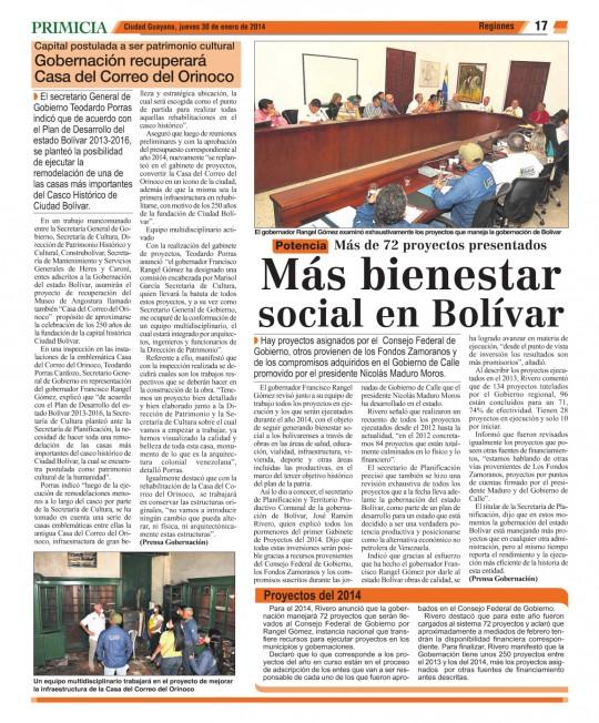 Diario Primicia pg 17 -300114 mas bienestar social en bolivar
